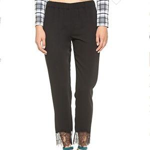 Clover Canyon Black Lace Hem Ankle Pant Trouser